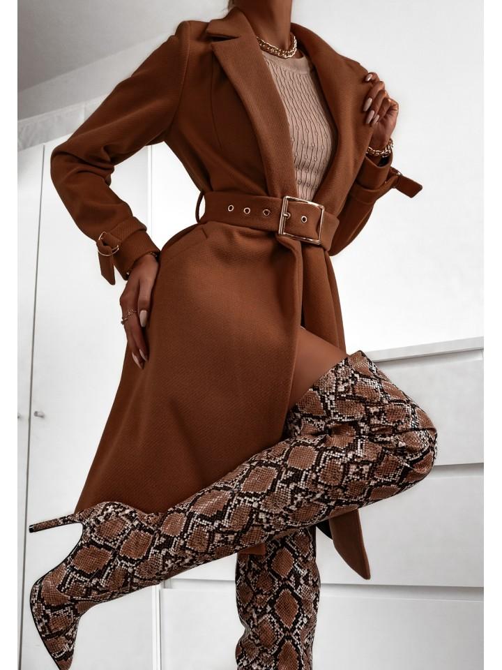 Płaszcz damski Camel z rękawami