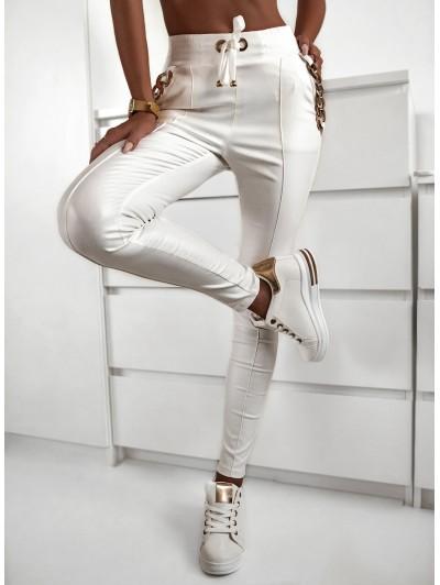 Spodnie woskowane damskie wysoki stan