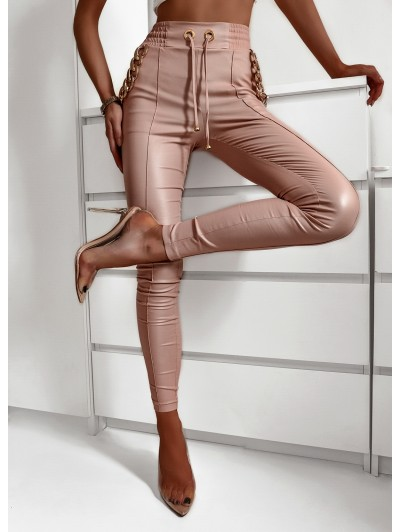 Spodnie woskowane damskie  z wysokim stanem