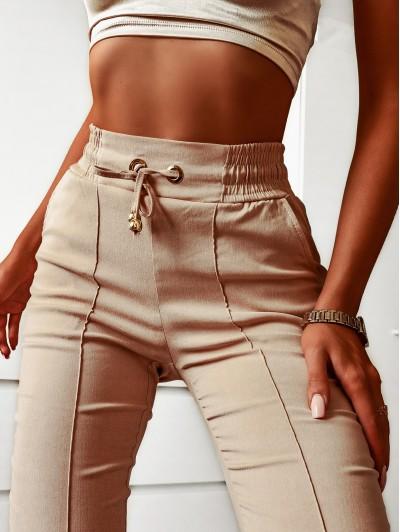 Spodnie Joggery damskie z wysoki stanem beżowe