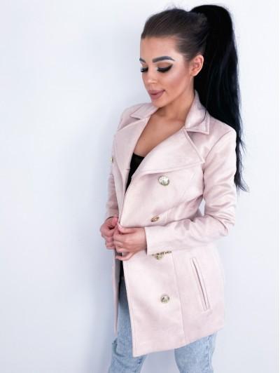 Płaszcz zamszowy damski Pudrowy