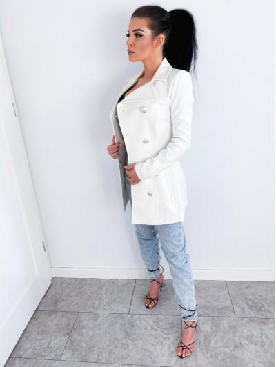 Płaszcz Zamszowy biały damski