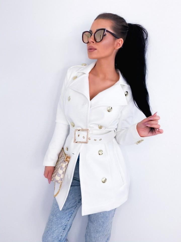 Płaszcz Monako z Paskiem Biały