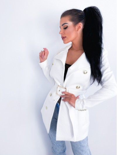 Płaszcz zamszowy biały