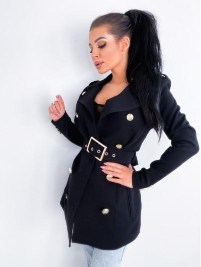 Płaszcz Czarny z paskiem
