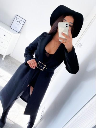 Płaszcz damskie czarny długi